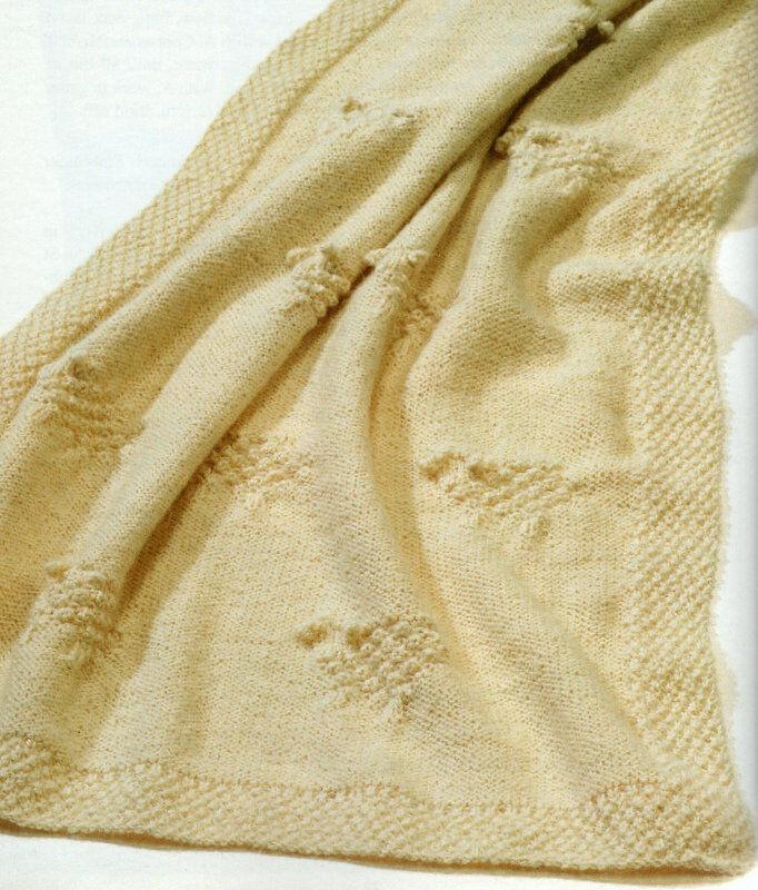 Textured Sheep Lamb Motif Baby Blanket Aran Wool Knitting Pattern