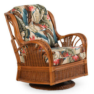 Details about Rattan Man Indoor Wicker Highback Swivel Glider Chair by  American Rattan