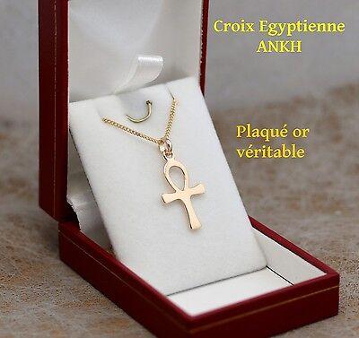 pendentif Croix ansée Egypte Ankh En Plaqué Or avec chaine homme 50 cm boite