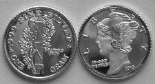(10) 1 GRAM 0.999+ PURE SILVER ROUNDS MADE IN THE MERCURY HEAD DESIGN 2014