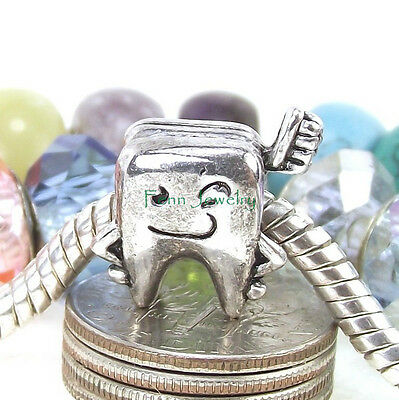 Mr. Tooth and Brush Dental Charm Bead Large Hole Bead fit European Bracelet
