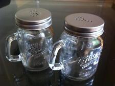 NOVELTY MASON JARS CLEAR GLASS SALT AND PEPPER POTS SHAKER SPRINKLE BOTTLES SET