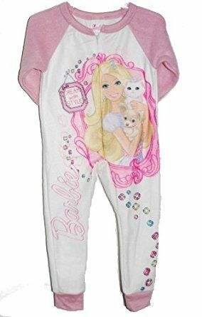 NEW GIRLS OFFICIAL BARBIE SOFT FLEECE BABYGROW PINK WHITE AGE 2-8 yrs