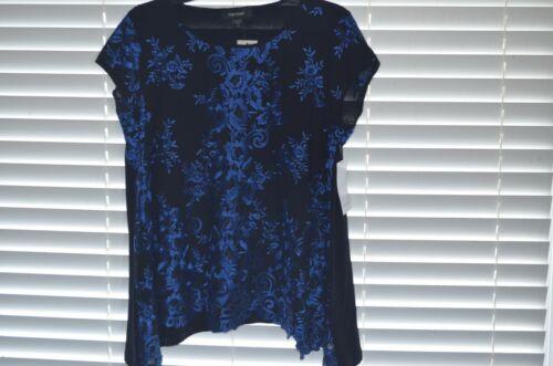 Karen Kane Womens Shirt Top Blouse Blue Black Embroidered Saffron Sea Size Small