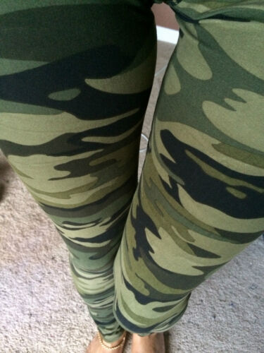 SOFT DARK GREEN brushed Camouflage Camo Leggings S M L ONE size PLUS