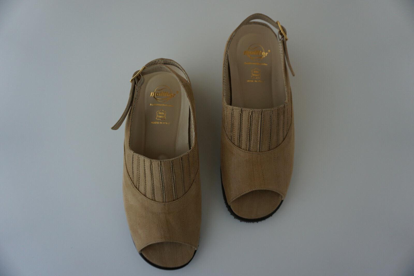 Orthopädisch molliter femmes Sandale D'été chaussures Velcro Taille 38 caramel en cuir NEUF