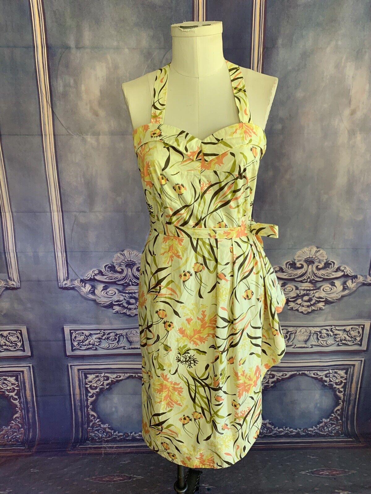 J Peterman Gelb Coral Reef Cotton PinUp Sun Dress SZ 10 Halter w Side Drape