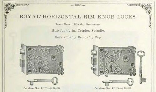 """Co 3 1//4/"""" L EXACT REPRODUCTION FANCY RIM LOCK 12588 ONE KEEPER for R"""