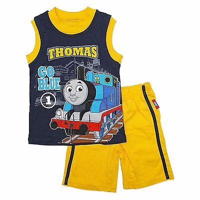 2T 3T 4T $25 THOMAS TANK ENGINE TRAIN Shirt /& Shorts Outfit Clothing Set NWT Sz