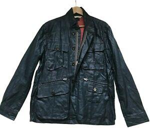 "Paul Smith Blue Waxed Jacket Size M P2P 22"""