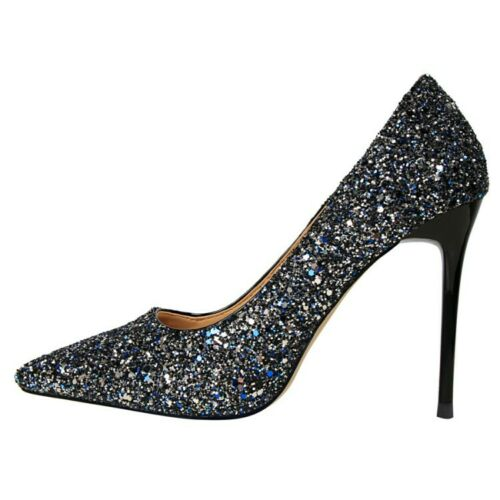 Ladies Party Shoes Bling Stilettos High Heels Bridal Pointed Pumps AU Size s611