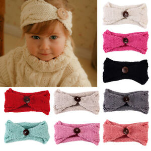 Image is loading Infant-Newborn-Baby-Girl-Crochet-Knitted-Button-Headband- 0fa3030dcab
