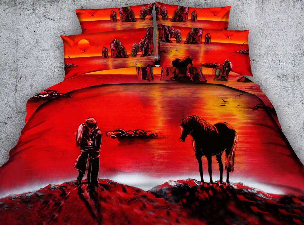 Horse Sunset Shore 3D Druckening Duvet Quilt Will Startseites Pillow Case Bettding Sets