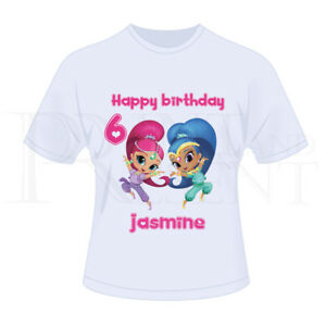 fbf13115f Image is loading Personalised-Childrens-Girls-Shimmer-And-Shine-Birthday-T-