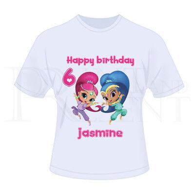 Bambini Ragazze Personalizzato Compleanno T-shirt shimmer e lucentezza