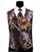 Medium Mossy Oak Camouflage Tuxedo Vest Skinny Long Tie Free Hankie Real Pockets