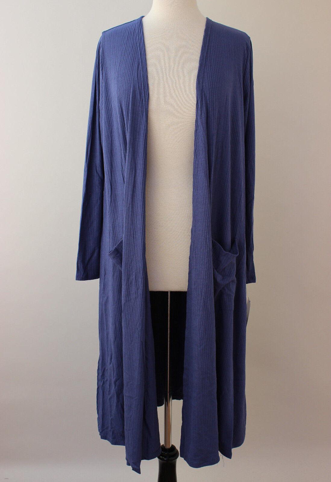 Medium LuLaRoe Sarah Duster Cardigan Solid Dark bluee Stretchy Ribbed NWT 124