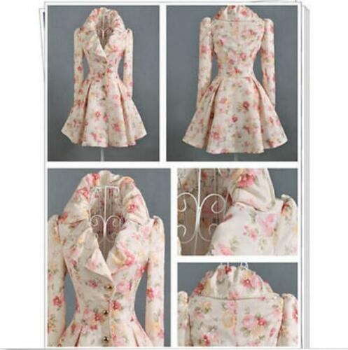 Womens Embroidered Floral Ruffle Jackets Sweet Court Basic Coats Slim Parkas New