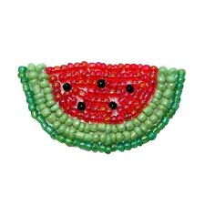 ID 9116 Watermelon & Rind Seeded Vine Fruit Plant Beaded Iron On Applique Patch