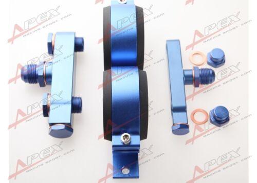 Twin Bosch 044 Fuel Pump Billet Aluminum Assembly AN10 Inlet AN8 Outlet Blue