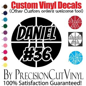 Custom Basketball Vinyl Decal And Name Car Outdoor Window Team - Custom vinyl decals numbers