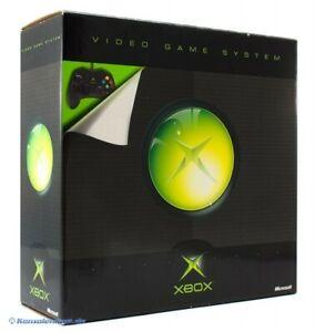 Xbox-Konsole-schwarz-Original-Controller-D-Zub-mit-OVP-OVP-beschaedigt