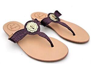 8980fa67005c Jack Rogers Larissa Sandals Sz 5 Purple Reptile Leather w Faux ...