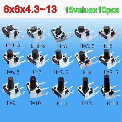 15 value Tact Switch Kit 6x6 Horizontal band stents Tactile Push Button Switches