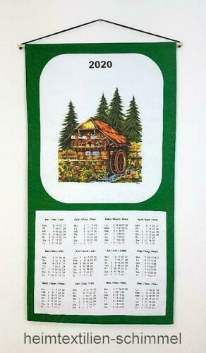 Textiler Wandkalender 2020 Textilkalender Stoffkalender Kalender MÜHLE 35x65cm