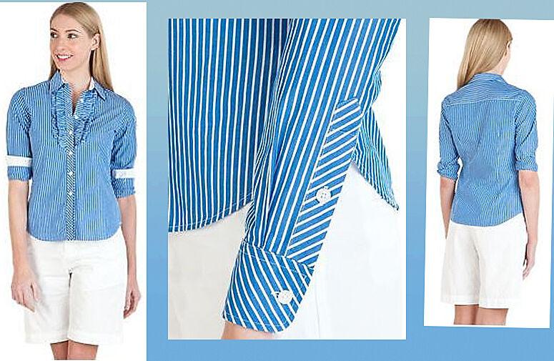 Lilly Pulitzer Jonni Schooner Blau Mixer Stripes Ruffled Blouse Shirt Top 6
