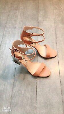 ZARA Women's Double Strap High Heel Sandals(Pink , US 8/EUR 39)