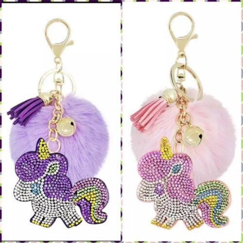 Details about  /Faux Fur Pompom Ball Unicorn Keychain Bag Key Ring Charms Key Holder