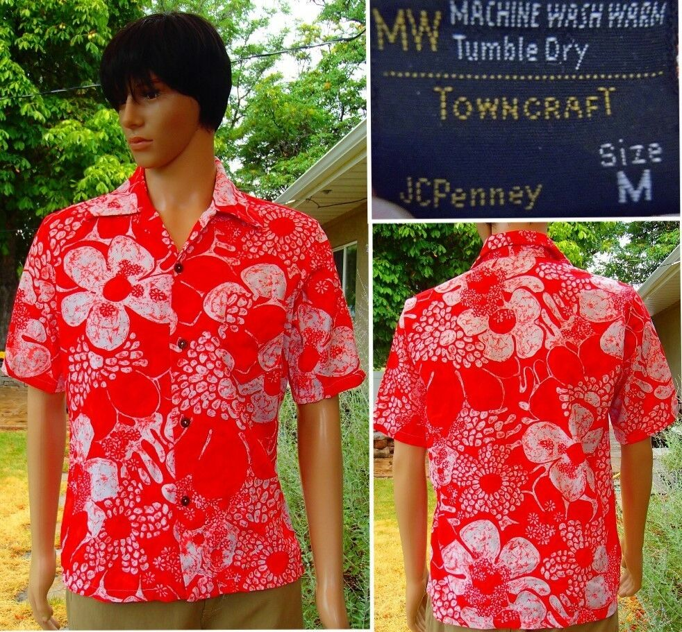 Vintage 70's TOWNCRAFT hawaiian shirt orange aloha coconut shell buttons medium
