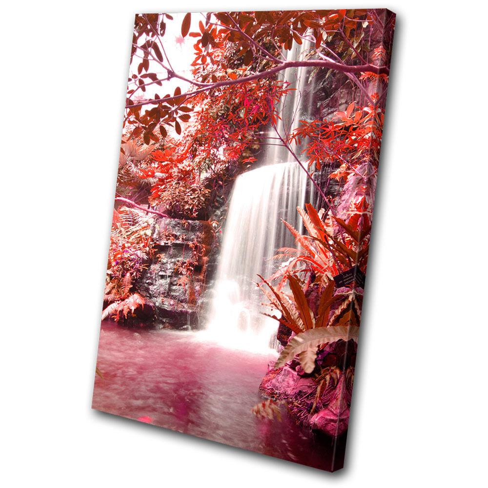 Landscapes Waterfall Forest rot SINGLE Leinwand Wand Kunst Bild drucken