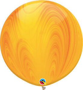 RAINBOW-BALLOONS-30-034-76cm-QUALATEX-YELLOW-SUPERAGATE-PACK-OF-2-BALLOONS