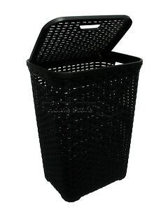 Black-60L-Litre-Woven-Style-Rattan-Plastic-Laundry-Basket-Bin-Storage-Box-Gift