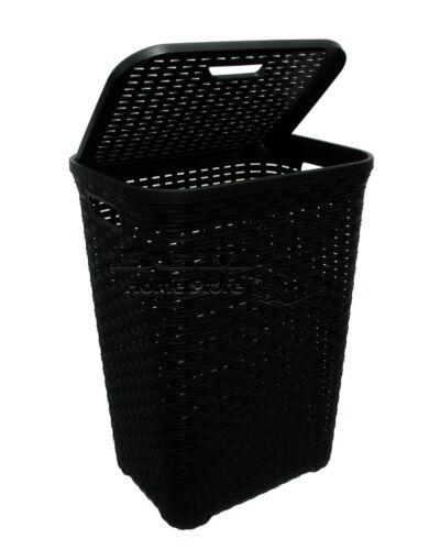 2X Black 60L Litre Woven Style Rattan Plastic Laundry Basket Bin Storage Box