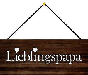 Lieblingspapa Papa Tin Sign Shield with Cord 10 X 27 CM K0014-K