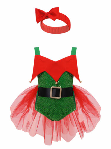 Baby Girls Reindeer Elf Tutu Dress For Christmas Costume  Cartoon Pumpkin Romper