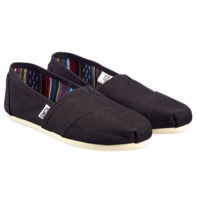 a25f9ea1394 Toms Espadrilles Core Classic Plimsolls Womens Black Canvas Shoes UK ...