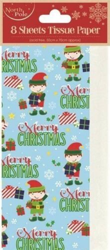 Elf Tissue Paper Christmas Gift Wrap 8 Sheets