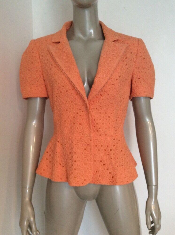 Roberto Cavalli Class Size 10 Forties Inspired Melon orange Cotton Lace Blazer