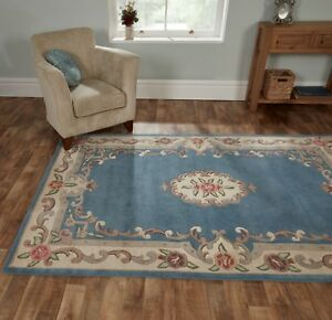 SALE-Chinese-Aubusson-Blue-Wool-Rug-in-various-sizes-runner-half-moon-and-circle
