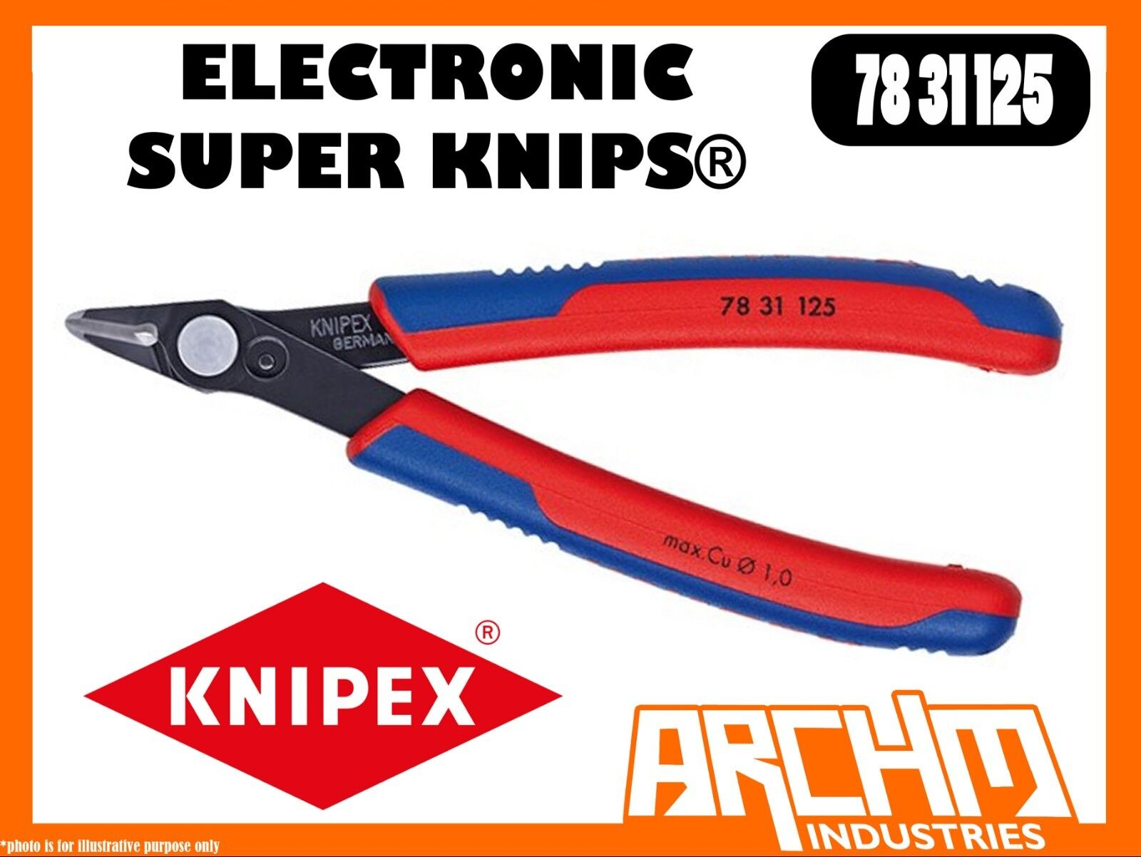 KNIPEX 7831125 - ELECTRONIC SUPER KNIPS® 125MM - PLIERS CUTTING EDGES BURNISHED