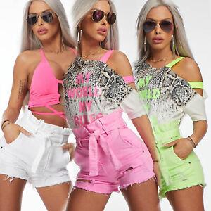 By-Alina-Mexton-Damen-High-Waist-Jeans-Destroyed-Hotpants-Shorts-Paperbag-Neon