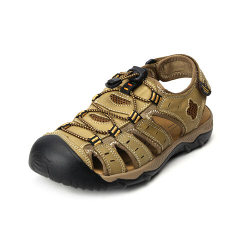 Mens Big Size Hiking Genuine Leather Sandals Closed Toe Fisherman Beach Shoes
