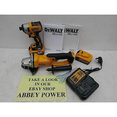 "DEWALT XR 18V DCG412 5"" GRINDER + DCF887 IMPACT DRIVER 5 AH + DEEP TSTAK + DISC"