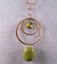 Lovely Emily Ray Necklace w /Green Stone & Crystal Bead 14K GF