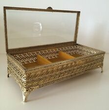 LARGE Vintage Ormolu Glass Jewelry Casket Vitrine Box Vanity Matson Era