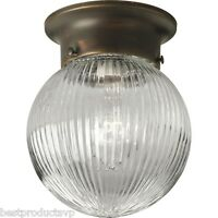 Antique Flush Mount Ceiling Light Fixture Metal Lighting Glass Mini Bronze Globe